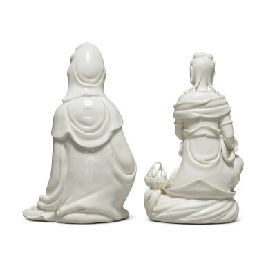 View 2. Thumbnail of Lot 39. Two 'Dehua' figures of seated Guanyin, 20th century.