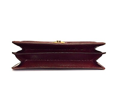 View 8. Thumbnail of Lot 725. GUCCI   BURGUNDY VINTAGE BAG IN LIZARD, c.1960s.