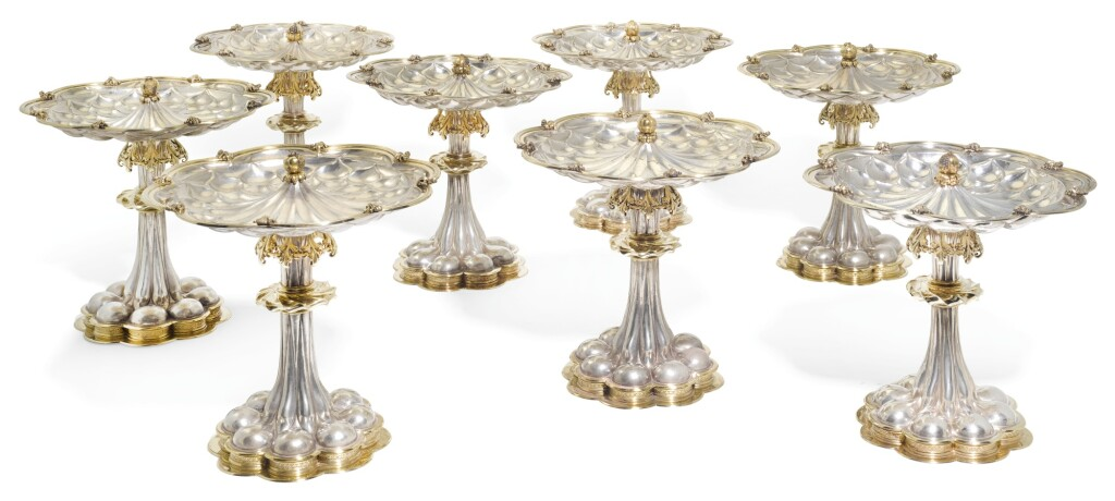 A SET OF EIGHT SWISS PARCEL-GILT SILVER RENAISSANCE STYLE DESSERT STANDS, BOSSARD & SOHN, ZURICH, CIRCA 1900