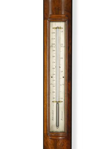 View 3. Thumbnail of Lot 101. A mahogany bow-front stick barometer, Dolland, London, circa 1850.