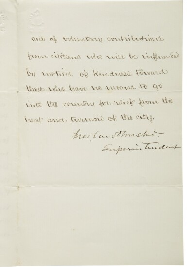 Olmsted, Frederick Law. Manuscript letter signed as superintendent of Central Park, ca. 1859.