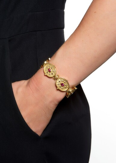 View 5. Thumbnail of Lot 111. SAPPHIRE, PINK SAPPHIRE AND DIAMOND BRACELET, THEO FENNELL.