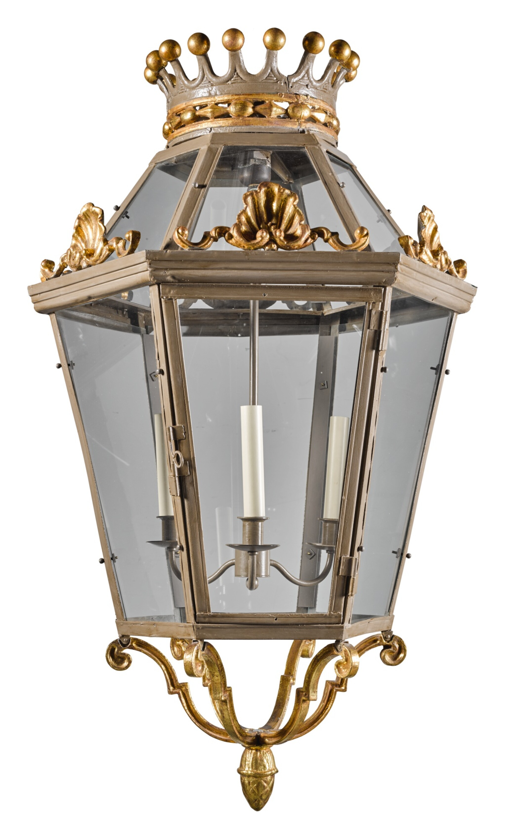 View full screen - View 1 of Lot 194. A GREY PAINTED AND PARCEL-GILT HEXAGONAL LANTERN MODERN.