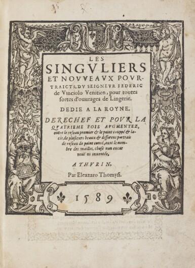 View 2. Thumbnail of Lot 13. Les singvliers... povrtraicts d'ouurages de Lingerie. 1589. + Les secondes oevvres de Lingerie..
