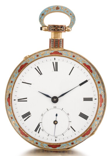View 2. Thumbnail of Lot 232. BOVET   A LARGE GOLD AND ENAMEL QUARTER REPEATING MUSICAL OPEN-FACED WATCH MADE FOR THE CHINESE MARKET   CIRCA 1820 NO. 9819.