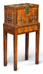A FRANCO-FLEMISH BRASS MOUNTED KINGWOOD COFFRE-FORT ON STAND, LATE 17TH/EARLY 18TH CENTURY