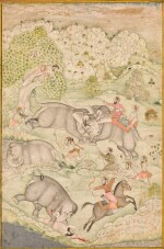 THE CAPTURING OF WILD ELEPHANTS, INDIA, MUGHAL STYLE IN RAJASTHAN, 18TH CENTURY