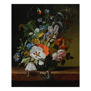 View 1. Thumbnail of Lot 32. Still life with flowers in a vase on a ledge with a dragonfly, caterpillar, and butterfly.