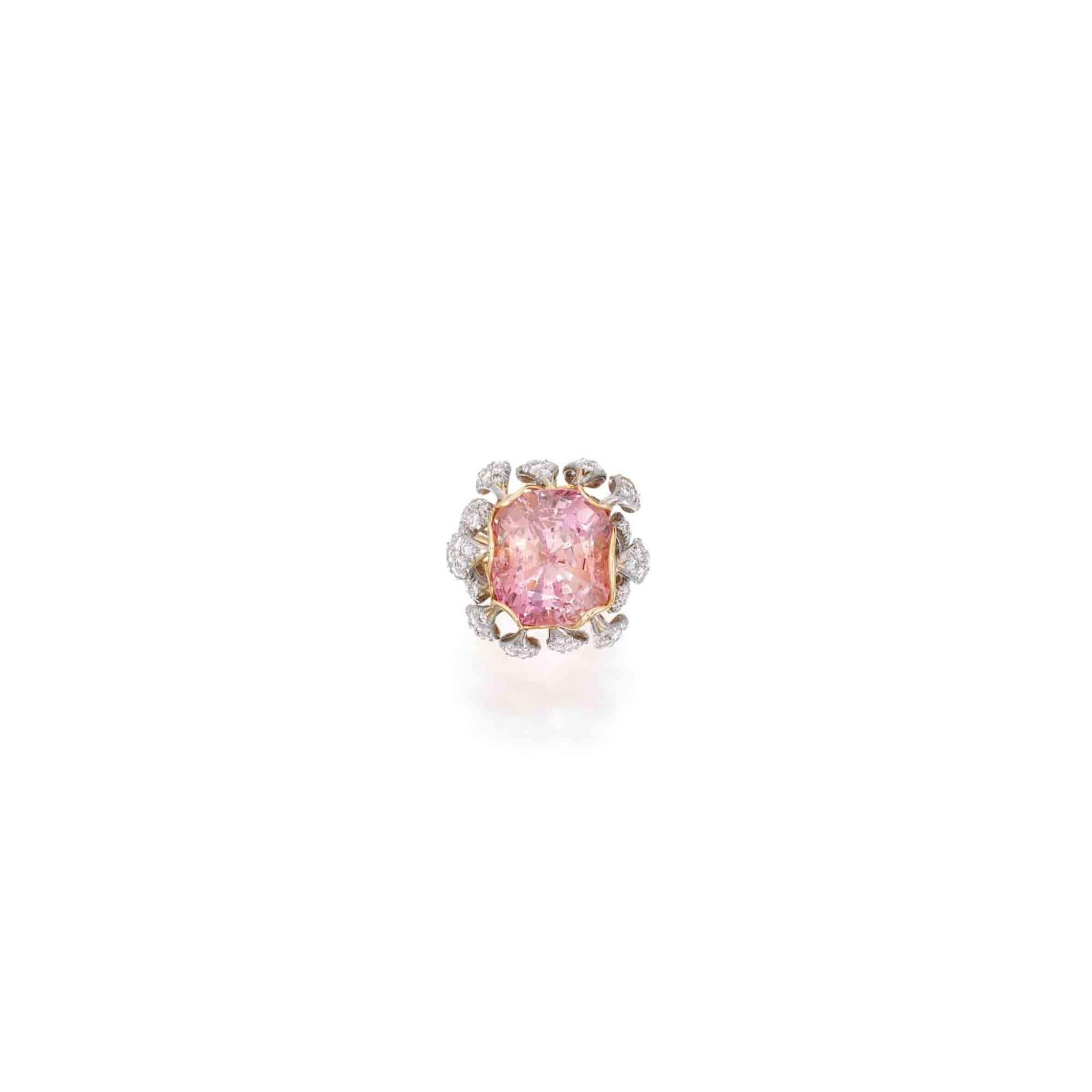 View full screen - View 1 of Lot 191. Padparadscha Sapphire and Diamond Ring [橙粉紅色剛玉配鑽石戒指].