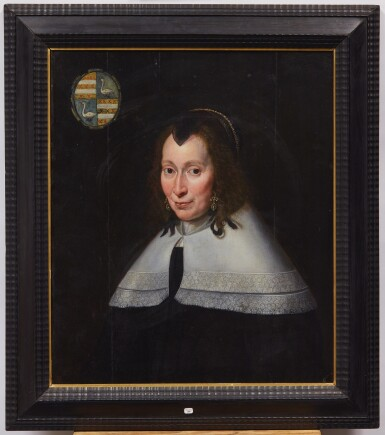 View 2. Thumbnail of Lot 629. Portrait of a woman, half length, wearing earrings and an embellished headpiece.