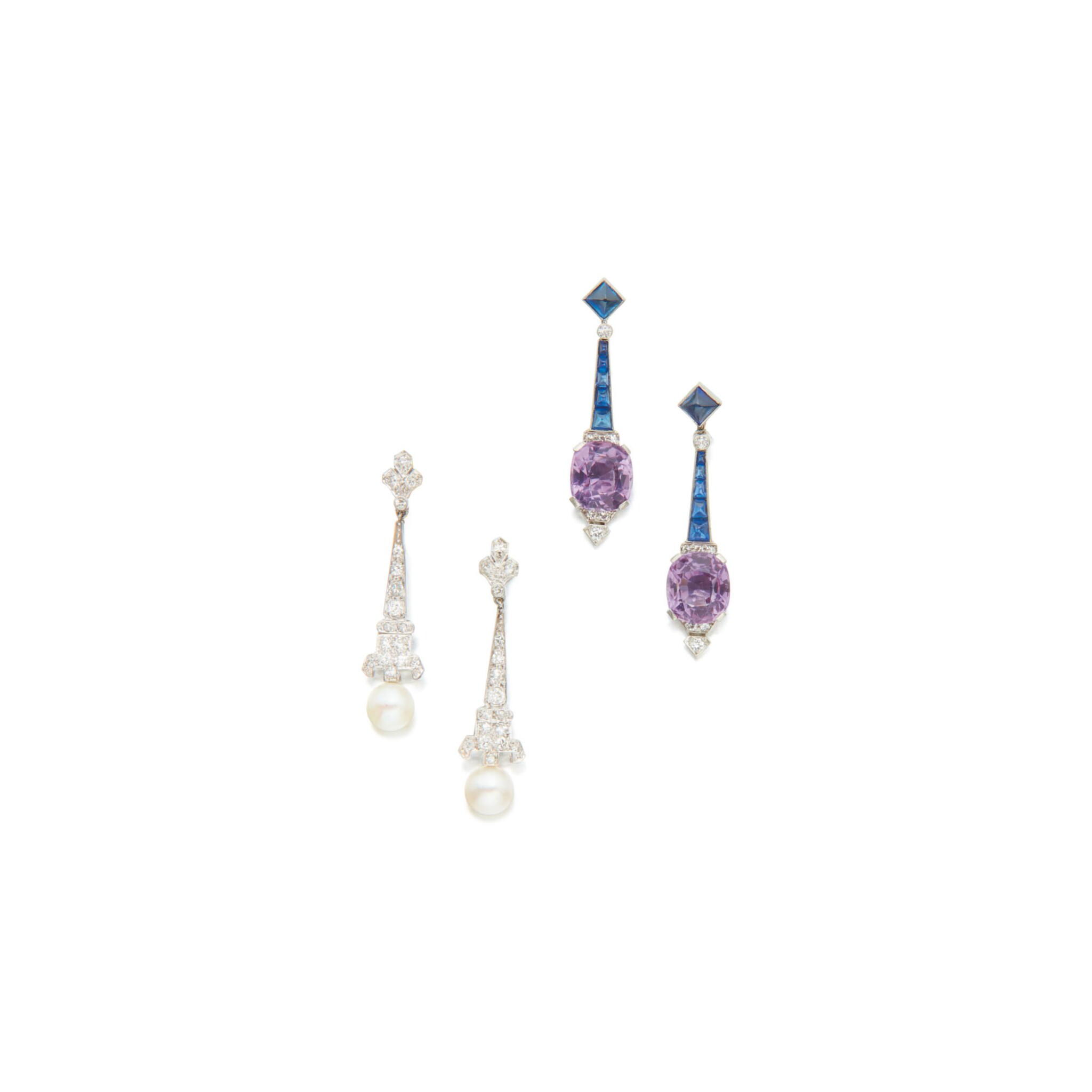 View 1 of Lot 111. TWO PAIRS OF PENDANT-EARRINGS.