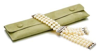 View 2. Thumbnail of Lot 9037. 'Flammes' Cultured Pearl and Diamond Bracelet   梵克雅寶   'Flammes' 養殖珍珠 配 鑽石 手鏈.