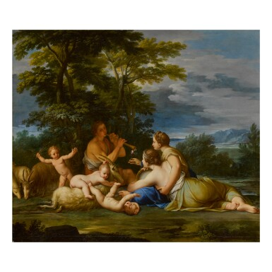 View 1. Thumbnail of Lot 167. MARCANTONIO FRANCESCHINI | GOATHERD PLAYING HIS PIPE WITH THREE BOYS PLAYING AND TWO GIRLS LISTENING.