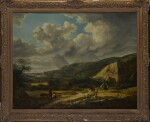 DUTCH SCHOOL, 19TH CENTURY | Landscape with figures on a path by a windmill, rain clouds beyond