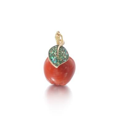 View 2. Thumbnail of Lot 29. Coral, tsavorite and diamond pendant.