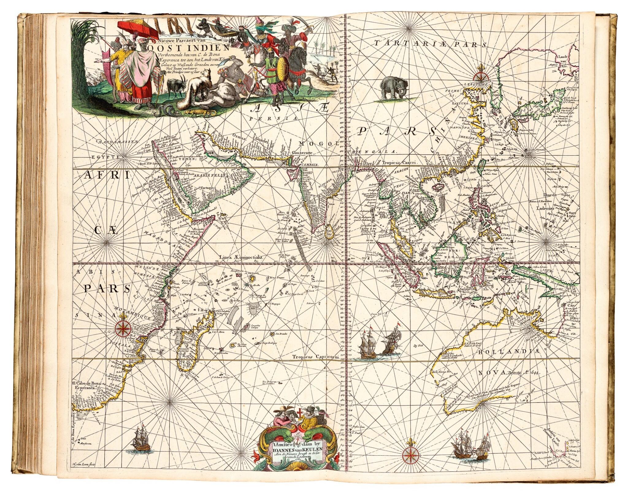 View full screen - View 1 of Lot 296. Keulen. De Groote Nieuwe Vermeerderde Zee-Atlas ofte Water-Werelt. 1685, fine hand-colouring.