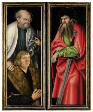 View 1. Thumbnail of Lot 5. LUCAS CRANACH THE ELDER |  THE LEFT AND RIGHT INTERNAL WINGS OF THE FEILITZSCH ALTARPIECE:   SAINT PETER WITH A DONOR, PROBABLY JOBST VON FEILITZSCH;   SAINT PAUL.