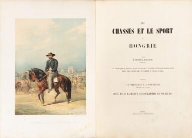 View 1. Thumbnail of Lot 110. Les chasses et le sport en Hongrie. [1857]. In-folio. Rel. de l'éditeur. Edition originale illustrée.