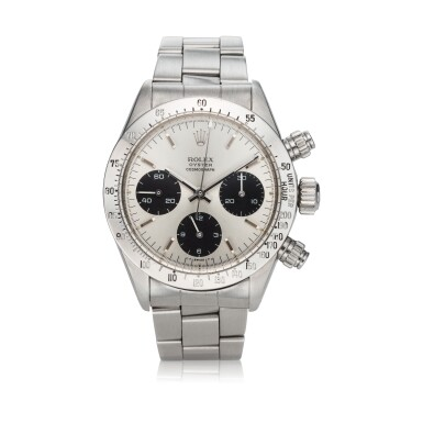 View 1. Thumbnail of Lot 276. Reference 6265 Daytona  A stainless steel chronograph wristwatch with registers and bracelet, circa 1975.