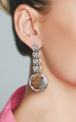 PAIR OF ROCK CRYSTAL AND DIAMOND EARRINGS, MICHELE DELLA VALLE