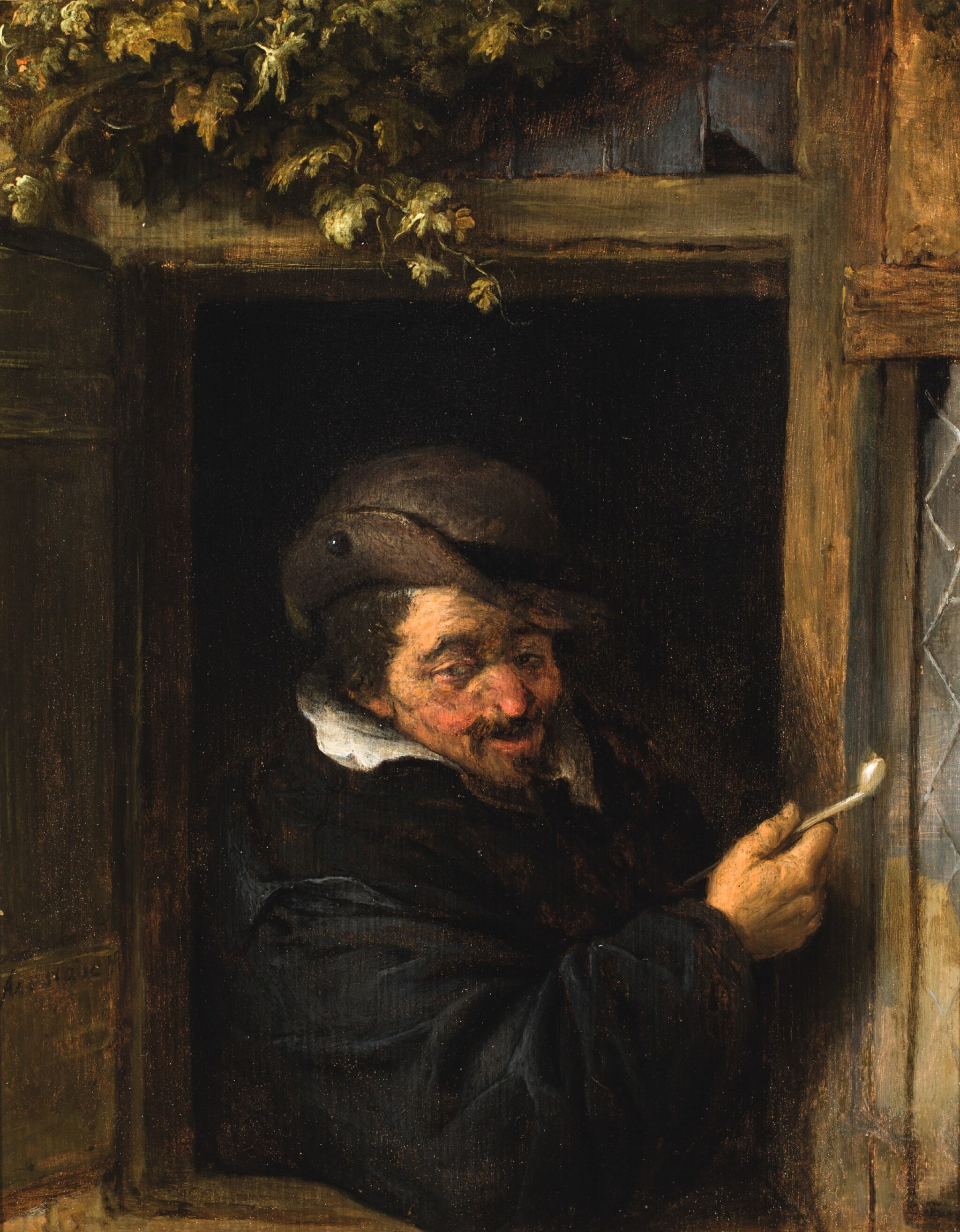 View full screen - View 1 of Lot 101. ADRIAEN JANSZ. VAN OSTADE  |  A PEASANT IN A WINDOW SMOKING A PIPE.