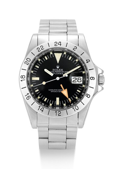 View 1. Thumbnail of Lot 6. ROLEX    EXPLORER II, REFERENCE 1655, A STAINLESS STEEL WRISTWATCH WITH 24 HOUR INDICATION, DATE AND BRACELET, CIRCA 1984.