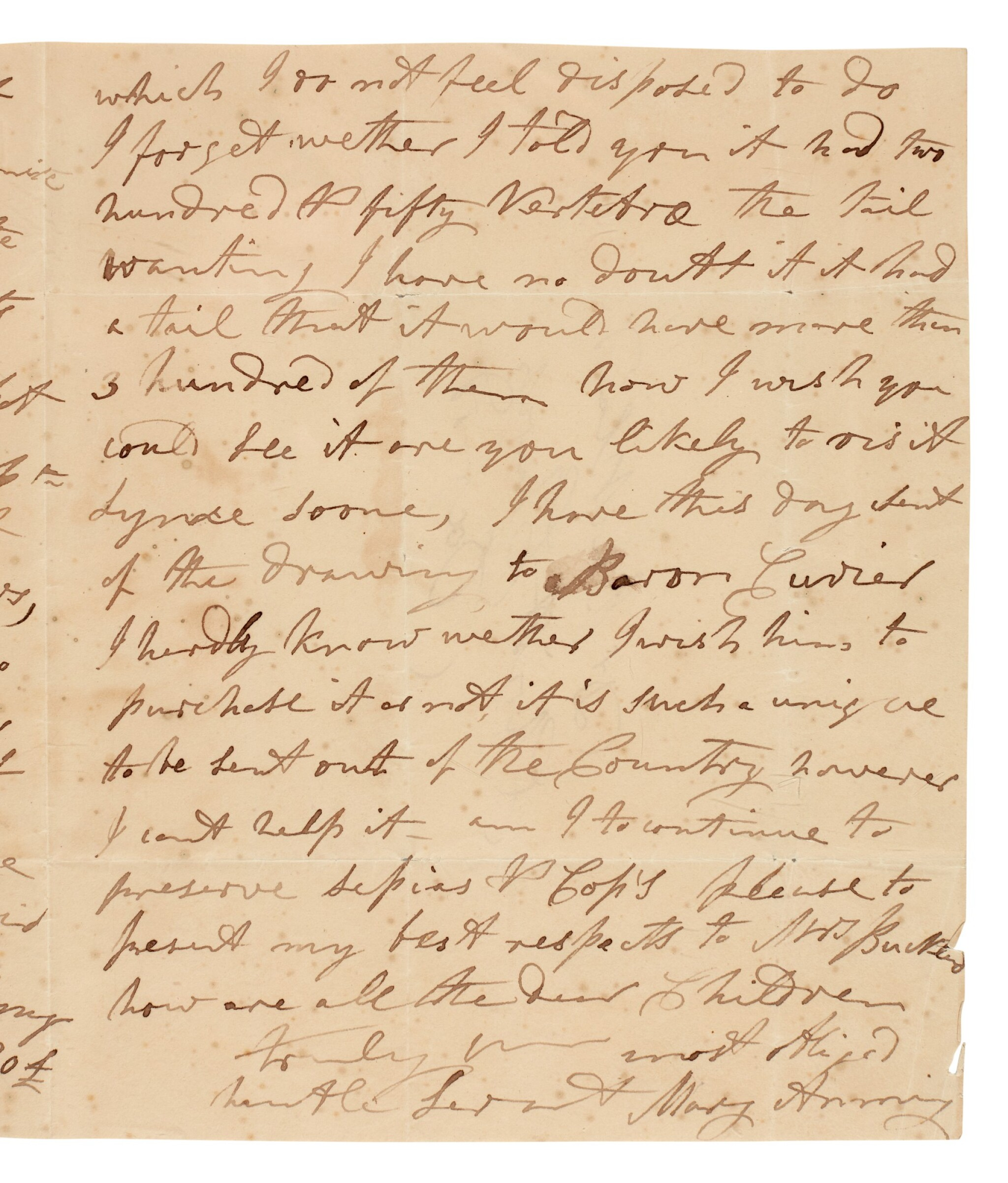 View full screen - View 1 of Lot 4. ANNING, MARY | autograph letter signed, to William Buckland, [1829].