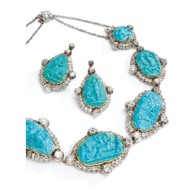 View 2. Thumbnail of Lot 272. TURQUOISE CAMEO AND DIAMOND DEMI-PARURE, MID 19TH CENTURY.
