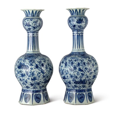 View 1. Thumbnail of Lot 512. A PAIR OF DUTCH DELFT BLUE AND WHITE LARGE VASES, CIRCA 1700.