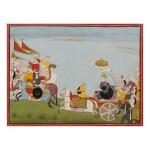 AN ILLUSTRATION TO A BHAGAVATA PURANA SERIES: JARASANDHA'S BATTLE MARCH TO MATHURA,  INDIA, GULER, CIRCA 1760