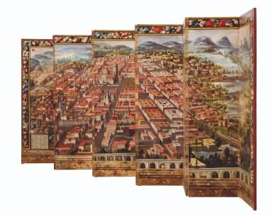 View 4. Thumbnail of Lot 1. ANONYMOUS, MEXICAN SCHOOL (17TH CENTURY) | BIOMBO DE LA CONQUISTA DE MÉXICO Y VISTA DE LA CIUDAD DE MÉXICO.