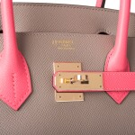 Hermès Horseshoe Stamp (HSS) Bicolor Gris Asphalte and Rose Azalee Birkin 30cm of Epsom Leather with Permabrass Hardware