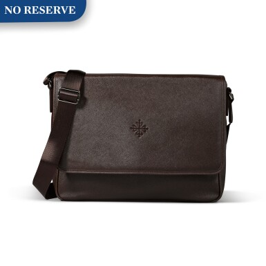 View 1. Thumbnail of Lot 722. BROWN FAUX LEATHER MESSENGER BAG.