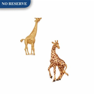 View 1. Thumbnail of Lot 323. Tiffany & Co. and Cartier   Two Gold and Gem-Set 'Giraffe' Brooches.