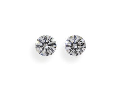 A Pair of 0.52 Carat Round Diamonds, F Color, VVS2 and VS1 Clarity