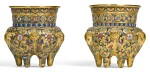 A PAIR OF CHAMPLEVE ENAMEL CENSERS QING DYNASTY, 18TH CENTURY | 清十八世紀 鏨胎琺瑯纏枝蓮紋六足爐一對