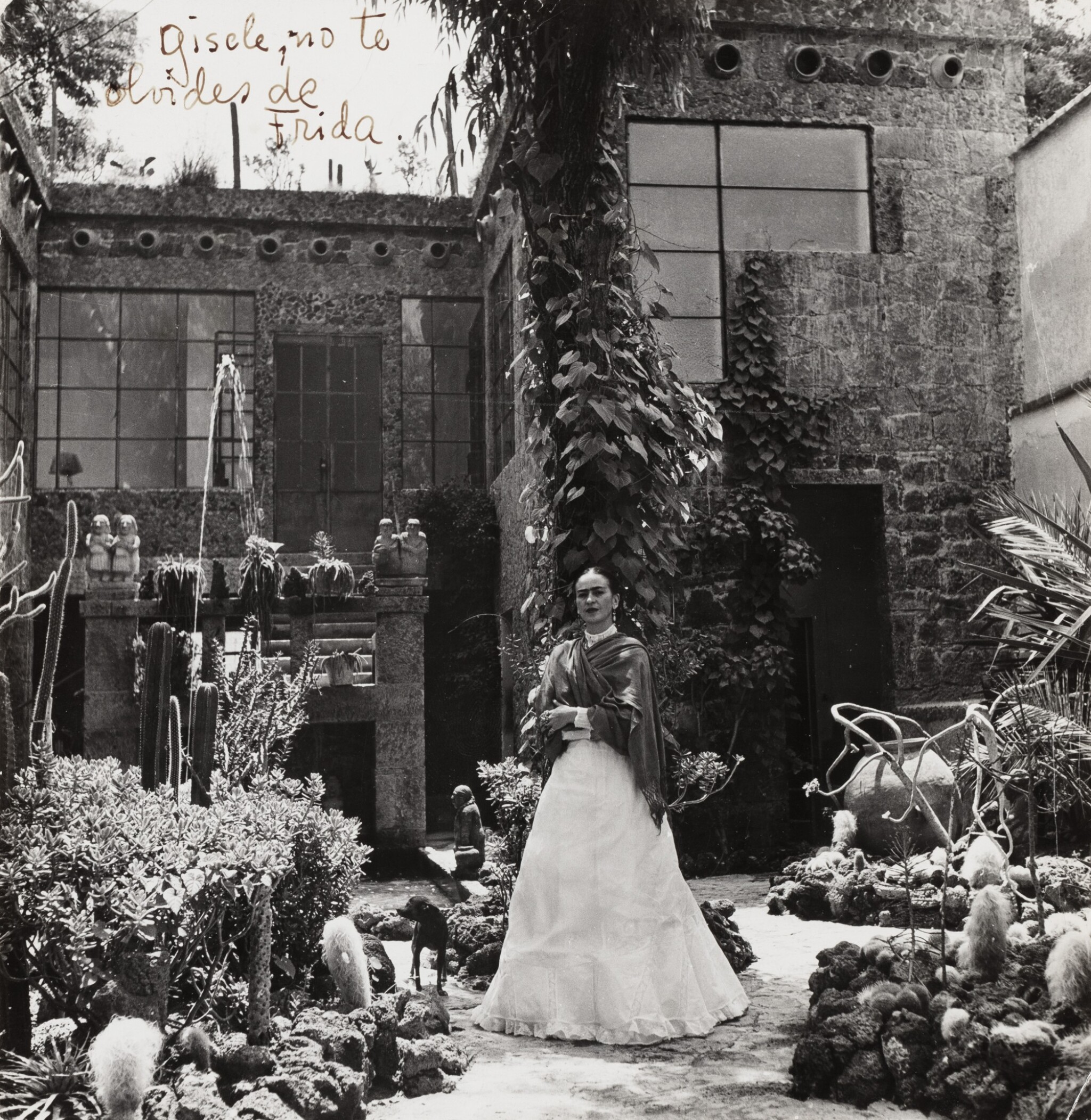 View full screen - View 1 of Lot 35. Gisèle Freund | Frida Kahlo in her Garden of Casa Azul, Mexico, 1948.
