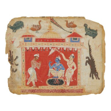 View full screen - View 1 of Lot 358. AN ILLUSTRATION TO A BHAGAVATA PURANA SERIES: KRISHNA APPROACHED BY AKRURA IN THE GOLDEN PALACE OF DWARAKA,  INDIA, DELHI-AGRA REGION, CIRCA 1520.