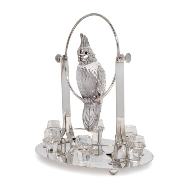 View 1. Thumbnail of Lot 144. 'Party Animal': an electroplate-mounted six-shot cockatoo liqueur dispenser, unmarked, probably Austrian, circa 1930.