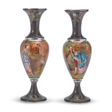 A PAIR OF FRENCH SILVER AND ENAMEL VASES, MAKER'S MARK JC POSSIBLY FOR JOSEPH COUSIN, PARIS, RETAILED BY TIFFANY & CO., NEW YORK, LATE 19TH CENTURY