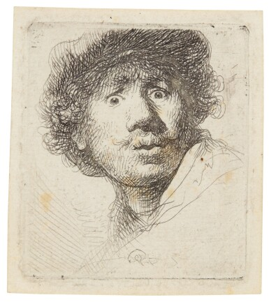 View 1. Thumbnail of Lot 60. REMBRANDT HARMENSZ. VAN RIJN  |  SELF-PORTRAIT IN A CAP, WIDE-EYED AND OPEN-MOUTHED (B., HOLL. 320; NEW HOLL. 69; H. 32).