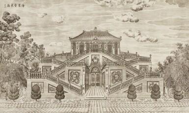 View 39. Thumbnail of Lot 362. A SET OF TWENTY PRINTS OF PALACES, PAVILIONS AND GARDENS AT YUANMING YUAN | 巴黎、1977年 《郎世寧圓明園西洋樓》 一組二十幅 水墨紙本.