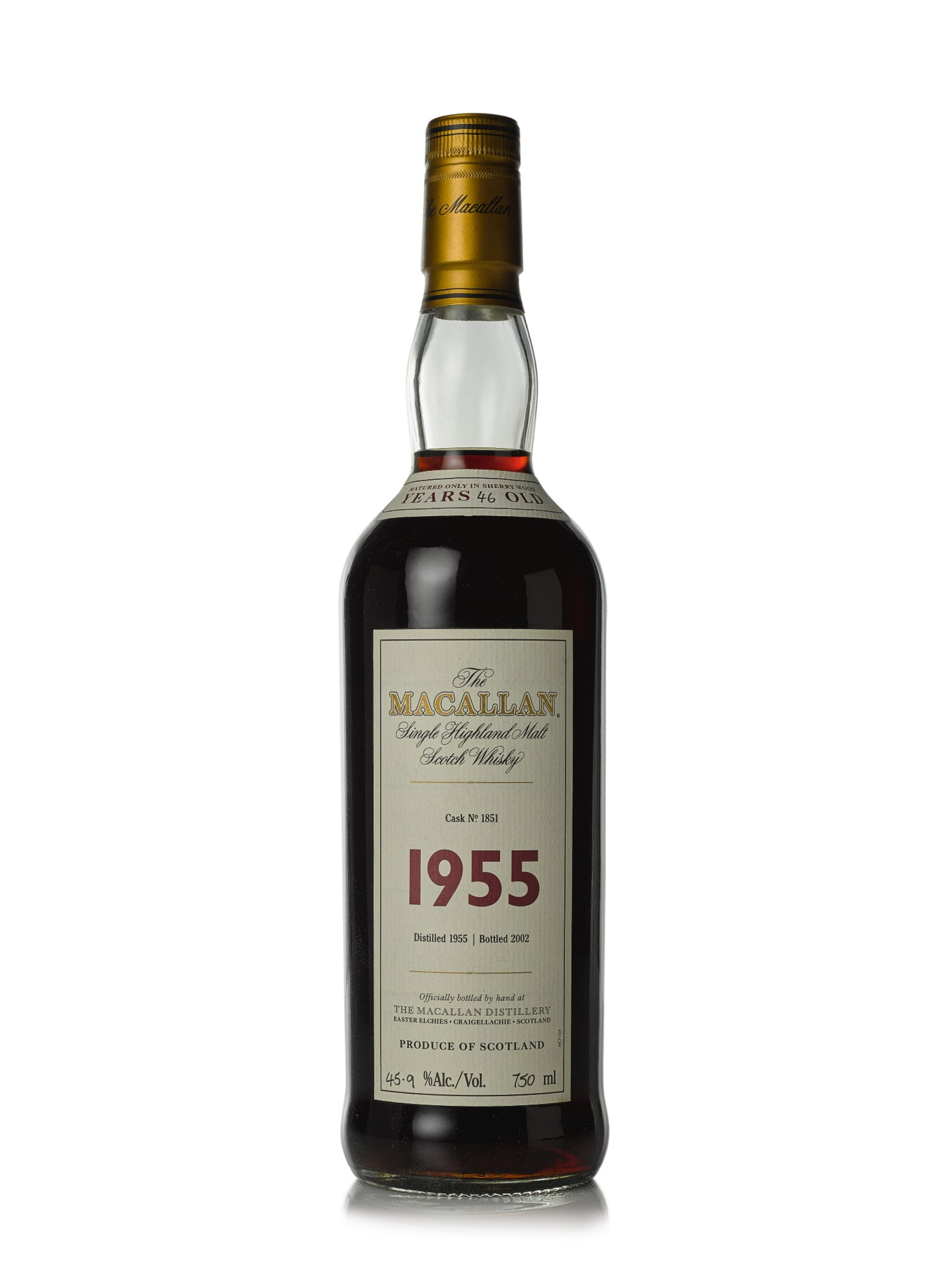 View full screen - View 1 of Lot 13. The Macallan Fine & Rare 46 Year Old 45.9 abv 1955 (1 BT75cl).