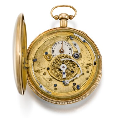 View 2. Thumbnail of Lot 279. SWISS   A GOLD QUARTER REPEATING WATCH WITH CONCEALED EROTIC AUTOMATON, CIRCA 1820.