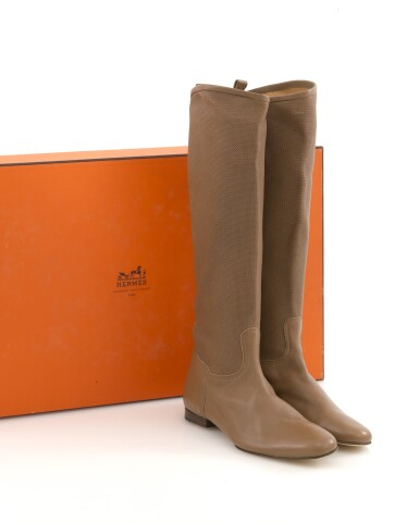 Brown leather boots, Hermès