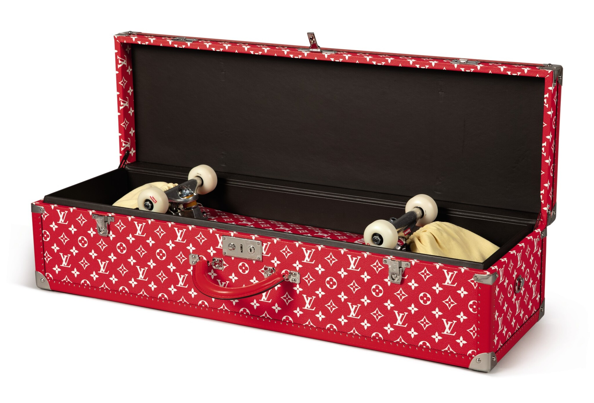 View full screen - View 1 of Lot 57. LOUIS VUITTON X SUPREME   BOITE SKATEBOARD TRUNK, WITH DECK AND TRUCKS.