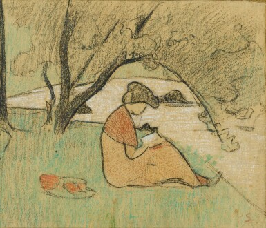 View full screen - View 1 of Lot 41. PAUL SÉRUSIER   MARGUERITE SÉRUSIER READING NEAR THE RIVER.