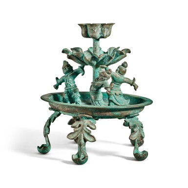 View 3. Thumbnail of Lot 101. A bronze oil lamp, Tang dynasty | 唐 銅天王花式五足燈.