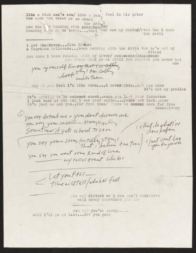 View 1. Thumbnail of Lot 50. DYLAN   Typescript and manuscript lyrics, 1966.