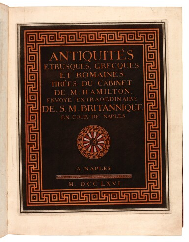 View 5. Thumbnail of Lot 54. Hamilton and d'Hancarville. Collection of Etruscan, Greek, and Roman Antiquities. [1766-67]. 4 volumes. red morocco.